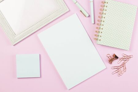 flat lay stationery collocate on work desk in pastel colorful background
