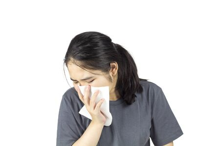 asian woman feel have fever and sick