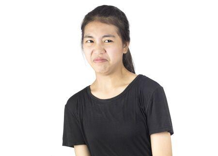 woman look something feel afraid and disdain Stock Photo