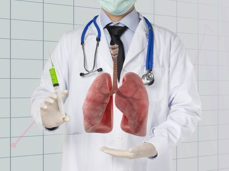 doctor drug injected to lung , lungs disease , 3D concept
