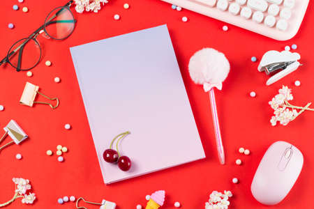 flat lay stationery on work desk in red pastel background