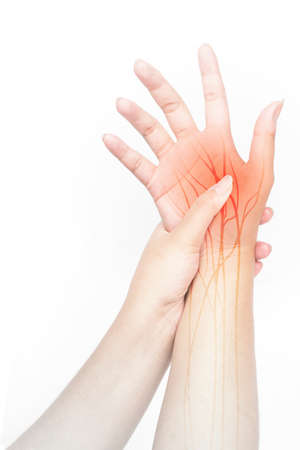 wrist nerve pain white background wrist injury