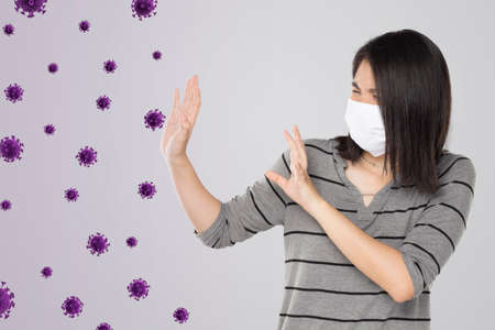 young asian woman feel scared virus and bacteria float in the air
