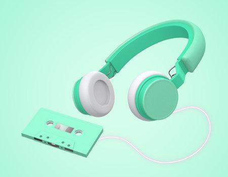 green wireless headphones link cassette tapes on green background , 3d rendering