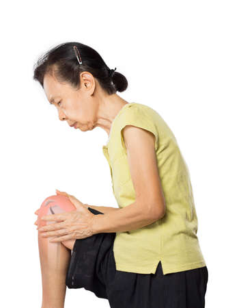 old asian woman knee bones pain in white background