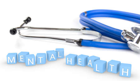 mental health box 3d illustration and doctor stethoscope , concept mental health