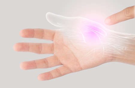 muscle hand pain from office syndrome in gray background