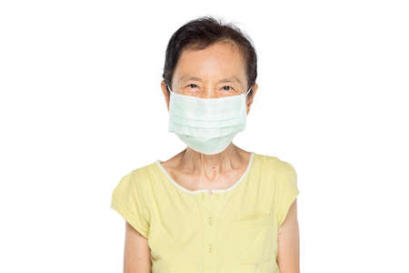 old asian woman put on mask show emotion happy and smile in white background