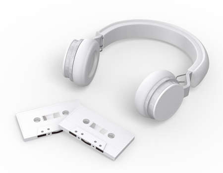 mockup white wireless headphones and cassette tapes on white background , 3d rendering