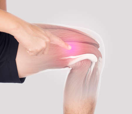 thigh muscle inflammation feel pain in gray background