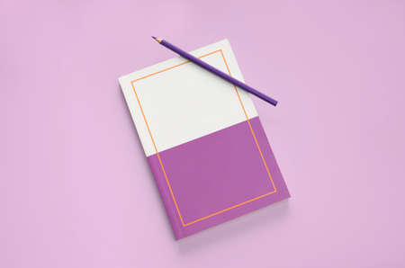 flat lay purple color pencil and stationery on purple pastel floor background Stock fotó