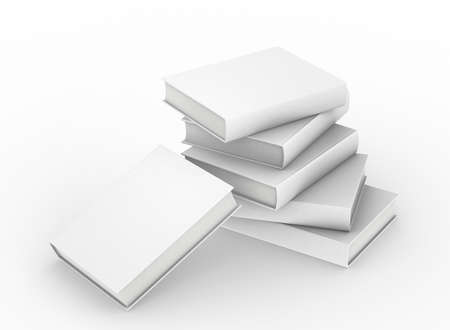 template empty hardcover book mockup on white background , 3d rendering