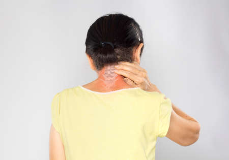 old asian woman feel neck bone pain Stock fotó