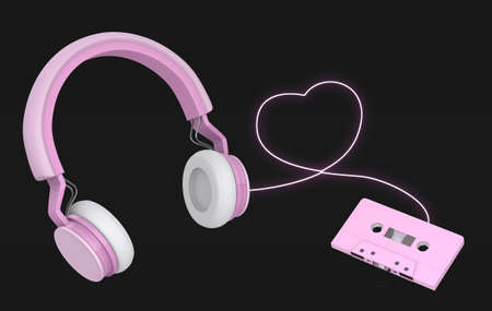 pink wireless headphones link cassette tapes on black background , 3d rendering