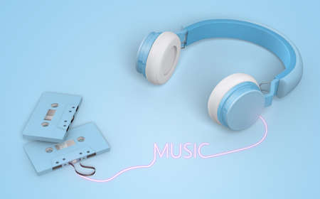 blue wireless headphones link cassette tapes , 3d rendering Stock fotó