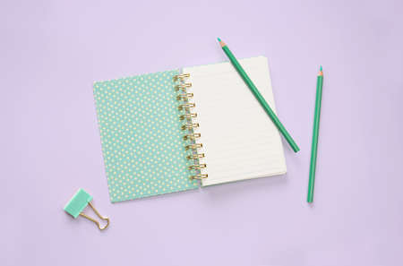 flatlay green color book and stationery on purple pastel floor background