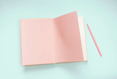flat lay pink stationery on blue background