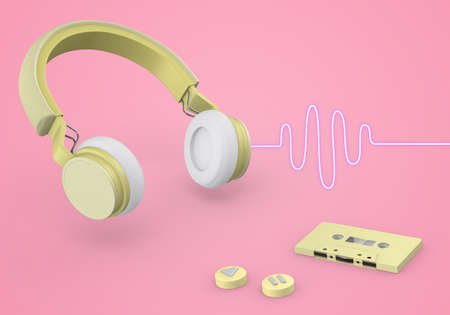 wireless headphones link and cassette tapes , 3d rendering Stock fotó