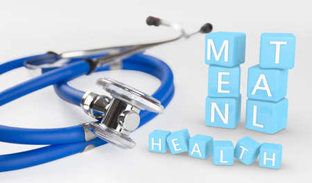 mental health box 3d illustration and doctor stethoscope