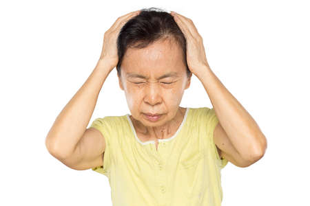 old asian woman arms raised touch her head feel headache