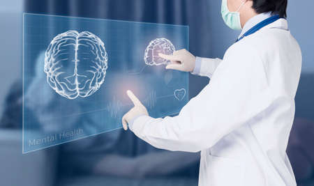 doctor examines hologram of brain health of mental patient , mental health concept
