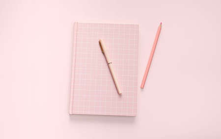 flat lay pink color book and stationery Stock fotó