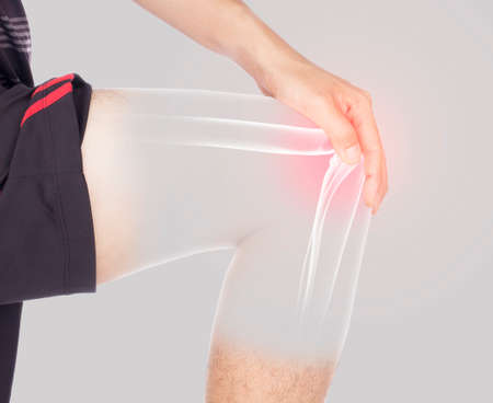 knee bones pain white background knee injury