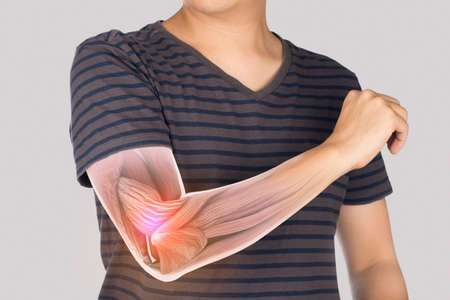 man feel pain elbow , x-ray elbow muscle injury