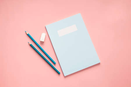 flat lay blue stationery on pink background