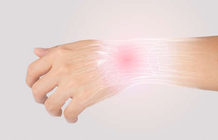 x-ray wrist muscle pain in gray background Stok Fotoğraf