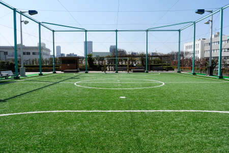fűt�s: Futsal court in a public outdoor park with artificial turf Stock fotó