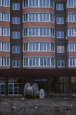 balcony window: Window and balcony on the wall building