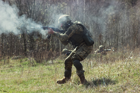 tactical: Military soldiers at tactical exercises and war