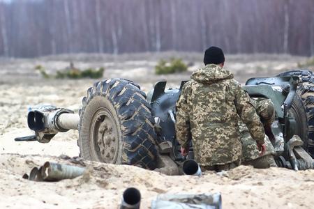Heavy artillery on military war field