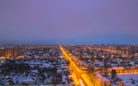 dreariness: Close up view of winter landscape edge city