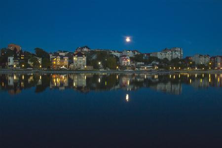 fool moon: swimming boat at fool moon in evening
