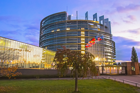 Flags of European Union countries before the European Parliament building in Strasbourg Stock Photo