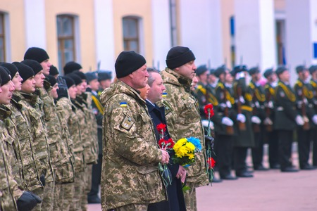 batallón: Zhytomyr, Ukraine - February 26, 2016: Military military parade, rows of soldiers at midday