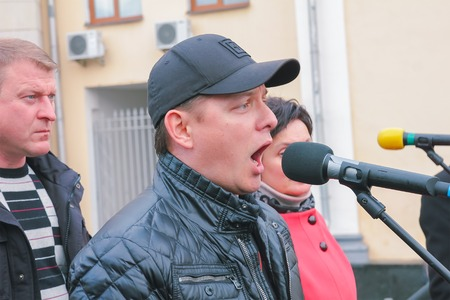 Zhytomyr, Ukraine - May 5, 2015: Requirements of entrepreneurs supported by the leader of the Radical Party deputy Oleg Lyashko. Editorial