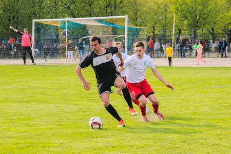 ジトームィル、ウクライナ - 2017 年 5 月 21 日: フットサル サッカー選手はミニ サッカー サッカー フットサル サッカー フィールドのオープン フィ