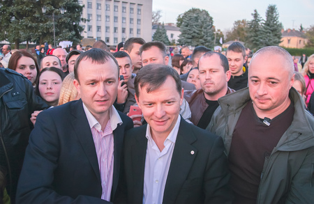 Zhytomyr, Ukraine - June 20, 2015: Requirements of entrepreneurs supported by the leader of the Radical Party deputy Oleg Lyashko. Editorial