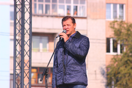Zhytomyr, Ukraine - May 20, 2015: Requirements of entrepreneurs supported by the leader of the Radical Party deputy Oleg Lyashko. Editorial