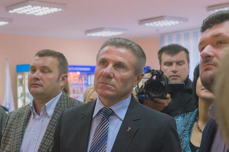Zhytomyr, Ukraine - September 05, 2015: President of Ukraine Olympic Committee Sergiy Bubka at Zhytomyr interior conference