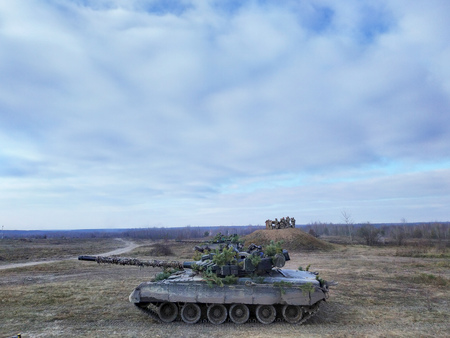 Army tank. Military training. autumn military exercises ukraine