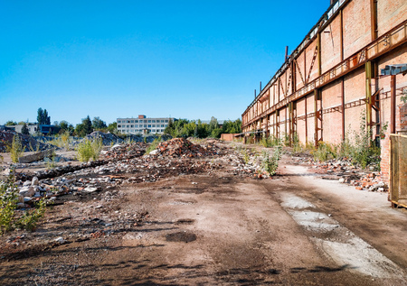 abandoned factory processing plant destroyed after the radiation 写真素材