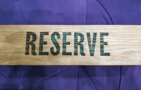 Reserved Wooden table in restaurant at interior. Top view 写真素材