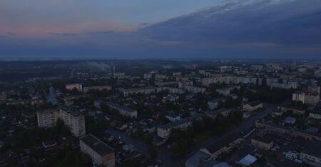 Aerial view of sunset in Zhytomyr city, Ukraine. Great sunrise scene. Fantastic landscape.