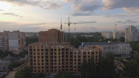 Aerial view construction site with crane at the building background