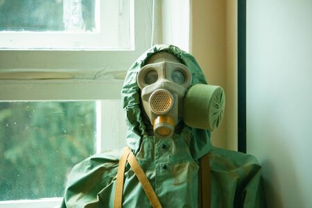 A mannequin wearing Nuclear Biological Chemical Suite at training room