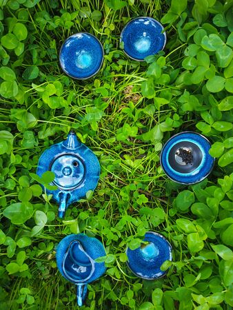 Blue ceramic teapot served with black and green tea. Top view in clover field
